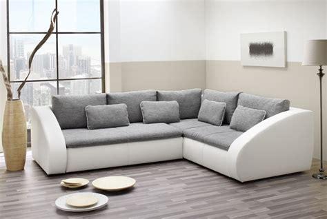 Polsterecke Starla 283x230cm, Grau Weiß, Sofa Couch