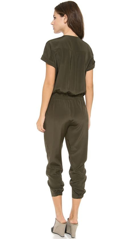 vince jumpsuit vince jumpsuit in green green lyst