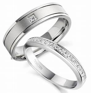18k white gold his hers mens womens wedding bands rings With his and hers white gold wedding rings