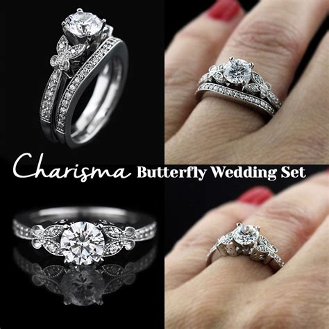 Charisma Butterfly Wedding Set Archives  Miadonna Diamond