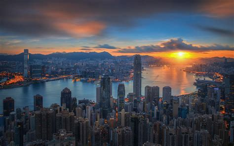 sunrise  victoria harbor  viewed atop victoria peak