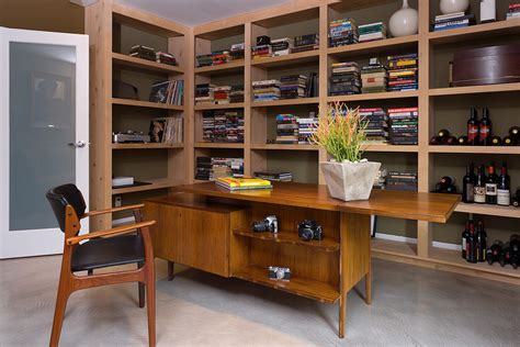 mid century desk home office modern with book bookcase
