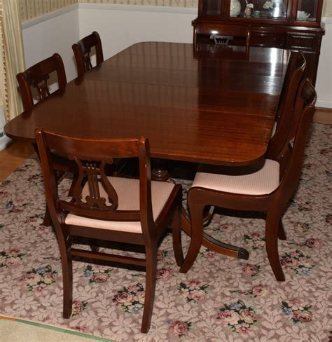bench style table and chairs mahogany duncan phyfe style dining table and chairs ebth