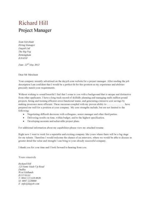 Sle Cover Letter For Project Manager by A Simple Project Manager Cover Letter That Is Eye Catching