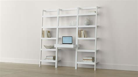 sawyer white leaning desk    bookcases