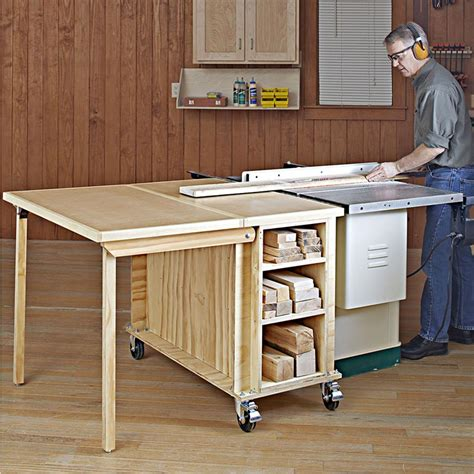 table saw workbench woodworking plans tablesaw outfeed table woodworking plan from wood magazine