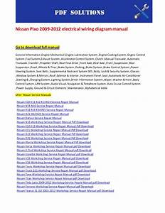 Nissan Pixo 2009 2012 Electrical Wiring Diagram Manual