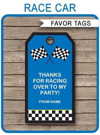 race car birthday party favor tags blue   tags