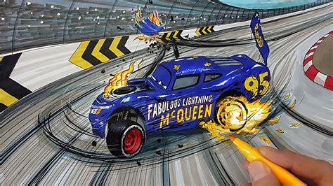 draw fabulous lightning mcqueen crash scene cars