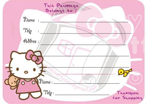 jual stiker pengiriman ol shop desain  kitty  lapak