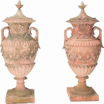 Garden Terracotta Urns Pair Composite Removed