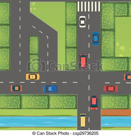 top view  street full  cars illustration