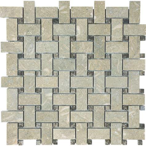 basketweave tile shop anatolia tile seagrass basketweave mosaic limestone wall tile common 12 in x 12 in