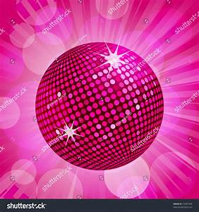 Sparkling Pink Disco Ball On Pink Stock Vector 72981949 ...