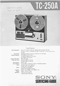Sony Tc-250-a Reel To Reel Tape Recorder Service Manual