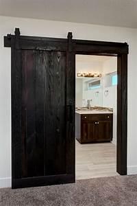 barn doors rustic trim accents in shou sugi ban too dark With barn door casing