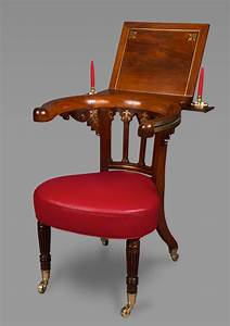 Very, Fine, Rosewood, And, Brass, Inlaid, Regency, Library, Reading, Chair