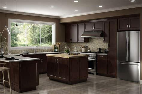 Espresso Kitchen Base Cabinets by All Wood Rta 10x10 Luxor Espresso Shaker Kitchen Cabinets