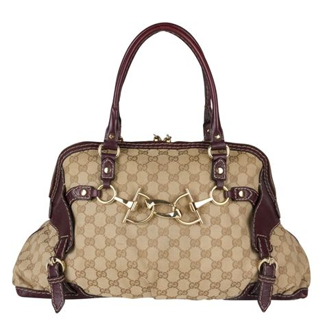 gucci monogram canvas medium horsebit nail boston bag