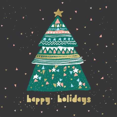 cute  tree christmas card   island