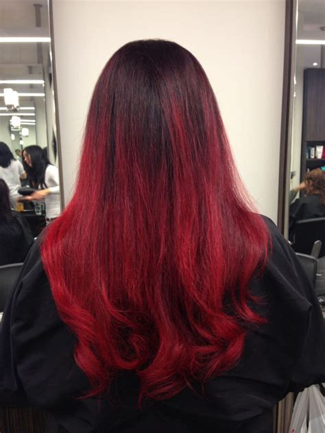 Bright Red Ombre Color By Catherine Cool Hair Latest