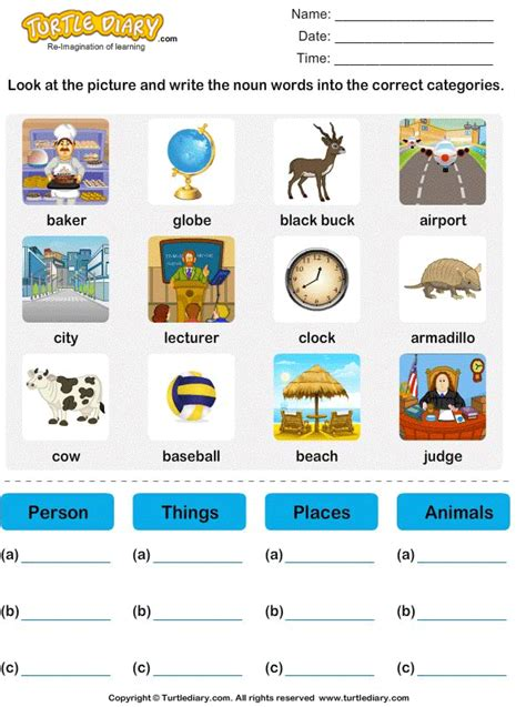 sort nouns  person place animal   worksheet