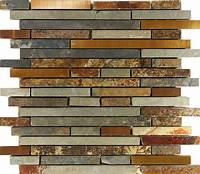 mosaic tile backsplash Sample Rustic Copper Linear Natural Slate Blend Mosaic ...