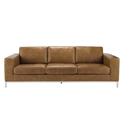 vintage sofa leder vintage sofa 4 sitzer aus leder camelfarben maisons du monde