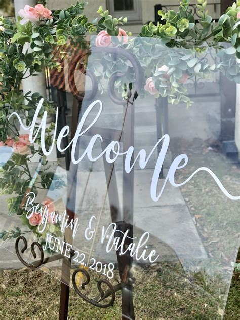clear glass  acrylic wedding  sign