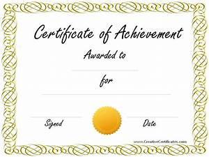 blank achievement certificates templates free certificate With certificate of accomplishment template free