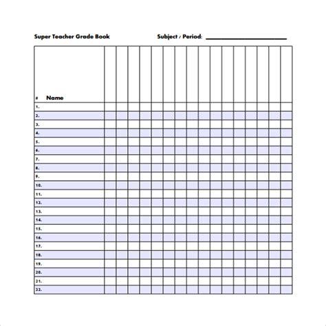 Gradebook Template 8 Sle Gradebook Templates Sle Templates