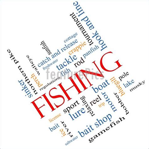 illustration  fishing word cloud concept angled