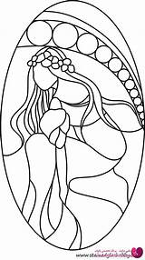 Coloring Stained Glass Patterns Designs Pages Flowers Mosaic Painting Faux Lady Pattern Outline طرح ویترای Vitray Mermaid خام Cricut Stainedglasshobby sketch template