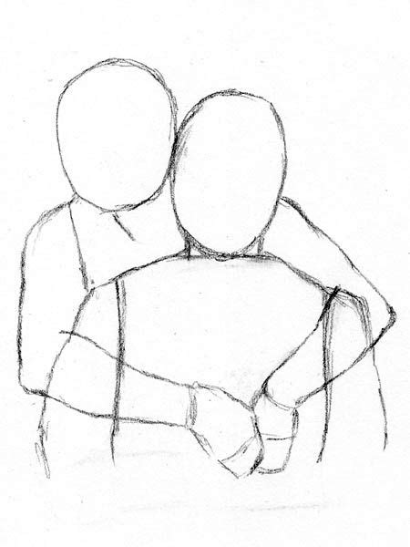 draw people hugging     easy
