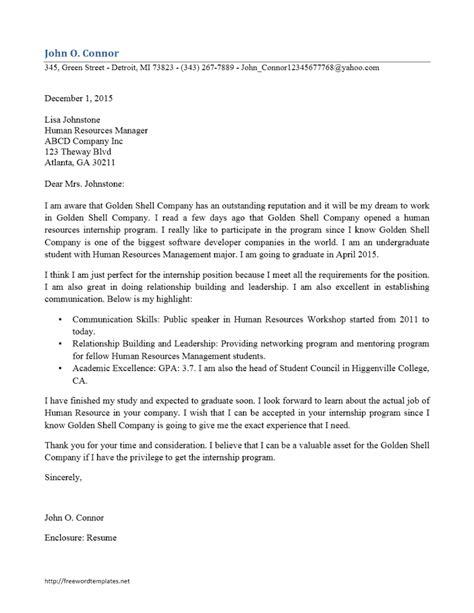 resume and cover letter for internship internship cover letter freewordtemplates net