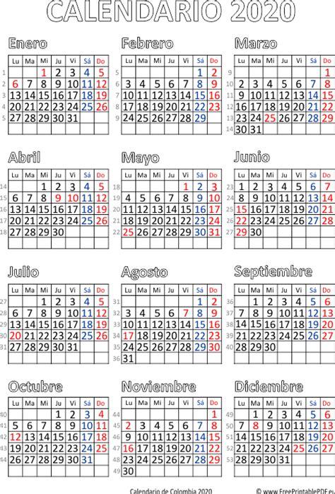 calendario de colombia  imprimir el  gratis