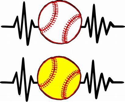 Softball Baseball Clipart Heartbeat Heart Youth Beat