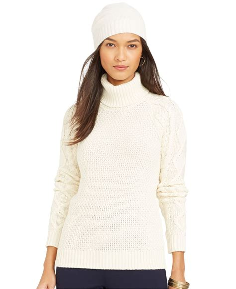 turtleneck knit sweater by ralph cable knit turtleneck sweater in