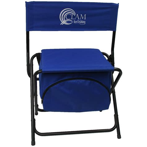 clam folding cooler chair 194697 ice fishing gear at