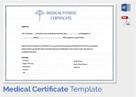 Sick Certificate Template by Certificate Template 33 Free Word Pdf