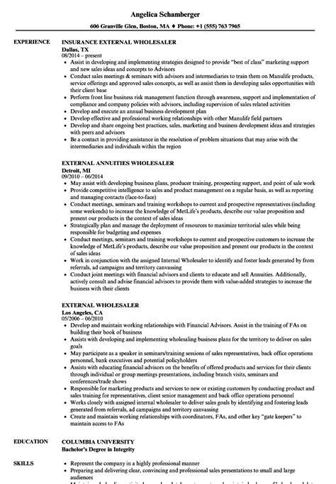 Resume Build Relationships by External Wholesaler Resume Sles Velvet