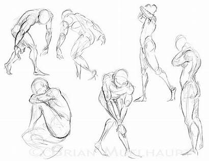 Poses Running Drawing Figure Female Action Different