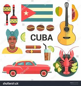 Cuba Poster Vector Icons Collection Cuban Stock Vector ...