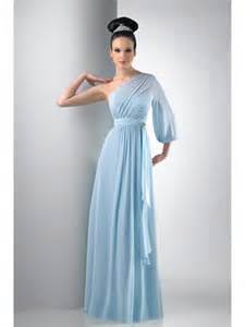bridesmaids dresses with sleeves one shoulder sleeve chiffon blue bridesmaid dresses wedding guest dresses 501032