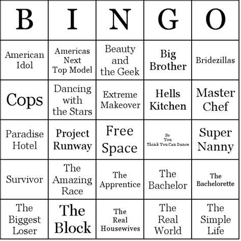 reality tv shows bingo cards
