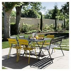Mobilier De Jardin Fermob : salon de jardin fermob cargo table l128 l128 cm 6 chaises 1 banc 157 x 37 x 150 cm gamm vert ~ Dallasstarsshop.com Idées de Décoration