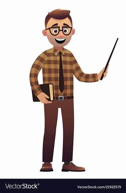 Character Teacher Male Cartoon Standing Teachers Vectorstock