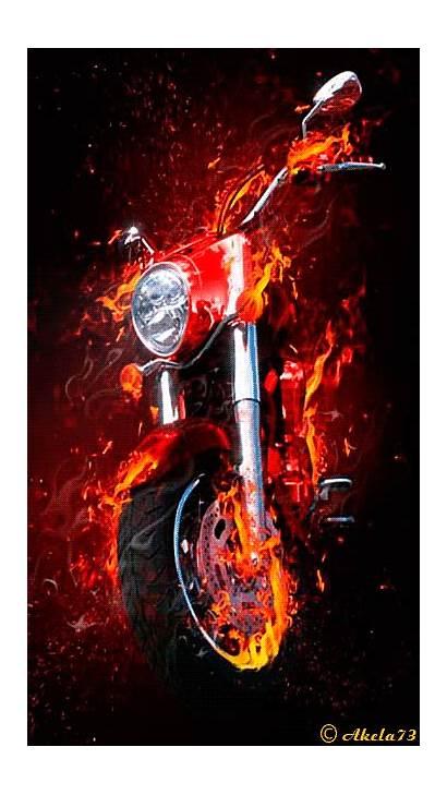Fire Motorcycle Screensavers Bike Gifs Skull Fantasy