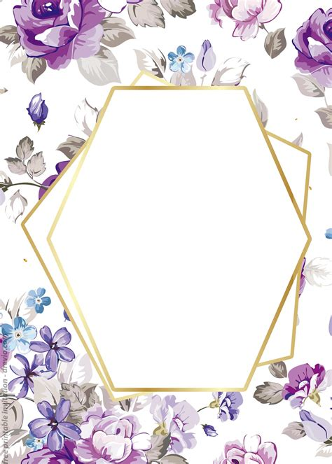 printable golden floral frame invitation templates