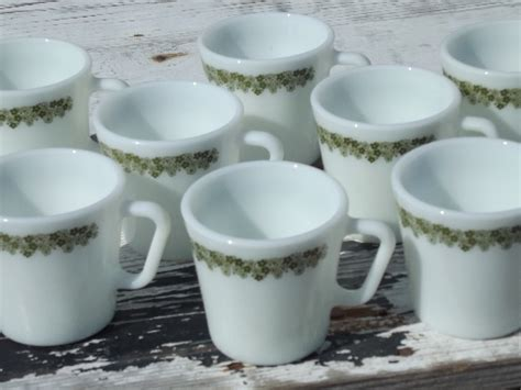 pyrex spring blossom glass mugs coffee cups lime green